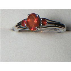 PLATNIUM OVERLAY SILVER MEXICAN FIRE RING SIZE 8