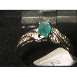 SILVER EMERALD WHITE TOPAZ RING SIZE 7
