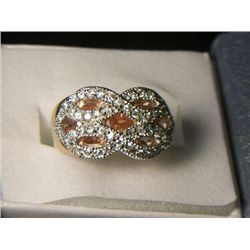 PLATNIUM OVERLAY SILVER CITRINE RING SIZE 8 WITH SIMULATED DIAMONDS