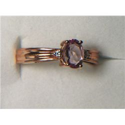 PINK TOPAZ RING SIZE 7 WITH SIMULATED DIAMONDS