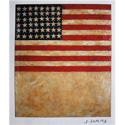 JASPER JOHNS, Signed Print, Flag above White