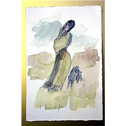 Frederic Remington Original Watercolor on Paper -Indian Woman