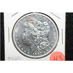 1887-S Silver Morgan $1, MS60, Better Date