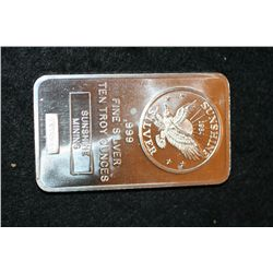 1984 Sunshine Silver Bullion Mining, .999 fine 10 oz.