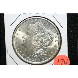 1921 Silver Morgan $1, MS63, Rev. Scratches