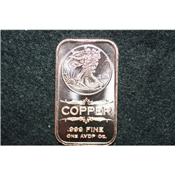 2011 Copper Ingot, .999 fine 1 oz.