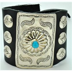 Navajo Turquoise Sterling Silver Large Bow Guard