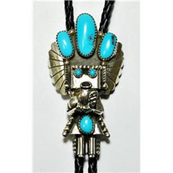 Navajo Turquoise Kachina Sterling Silver Bolo Tie
