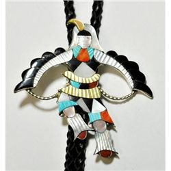 Zuni Multi-Stone Bird Dress Sterling Silver Bolo Tie
