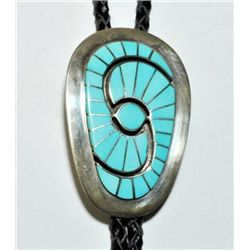 Zuni Turquoise Sterling Silver Bolo Tie - Amy Quandelacy