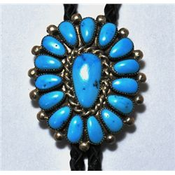 Zuni Turquoise Cluster Sterling Silver Bolo Tie - L.W.