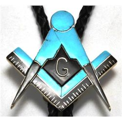 Zuni Onyx & Turquoise Sterling Silver Masonic Bolo Tie - Bobby Concho