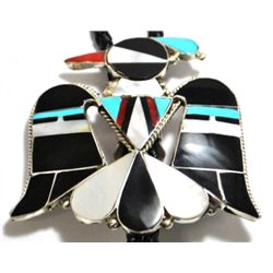 Zuni Mother of Pearl Inlay Thunderbird Bolo - Rosie Tekala