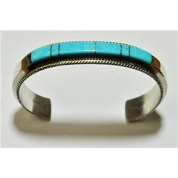 Navajo Turquoise Inlay Sterling Silver Cuff Bracelet - Fran Yazzie