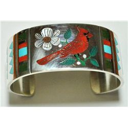 Zuni Cardinal Inlay Sterling Silver Cuff Bracelet - Rudell & Nancy Laconsello