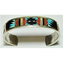 Zuni Multi-Stone Inlay Sterling Silver Cuff Bracelet - C. Dishta