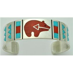 Zuni Multi-Stone Inlay Bear Sterling Silver Cuff Bracelet - Rudell & Nancy Laconsello