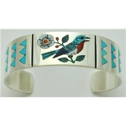 Zuni Multi-Stone Inlay Bird Sterling Silver Cuff Bracelet - Rudell & Nancy Laconsello