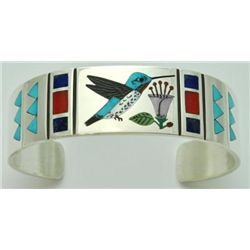 Zuni Multi-Stone Inlay Hummingbird Sterling Silver Cuff Bracelet - Rudell & Nancy Laconsello
