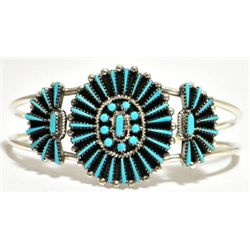 Zuni Turquoise Petite Point Cluster Sterling Silver Cuff Bracelet - Shirley Lahi