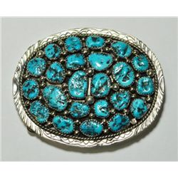 Navajo Turquoise 23-Stone Sterling Silver Buckle - Marlene Yazzie