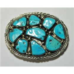 Navajo Turquoise 9-Stone Sterling Silver Buckle - Marie Thompson