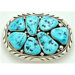 Navajo Sleeping Beauty Turquoise Sterling Silver Buckle - Mary Ann Spencer