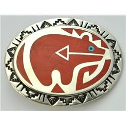Zuni Red Spiny Oyster Bear Sterling Silver Buckle - Rudell & Nancy Laconsello