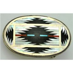 Zuni Multi-Stone Sterling Silver Buckle - C. Dishta