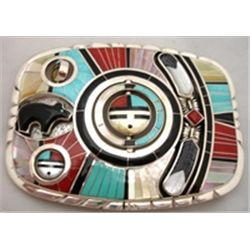 Zuni Don Dewa 4 Spinner Buckle with Bear and Feathers