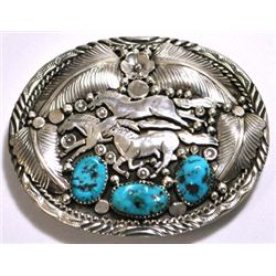 Navajo Turquoise Sterling Silver Galloping Horses Buckle - Richard Bitsie