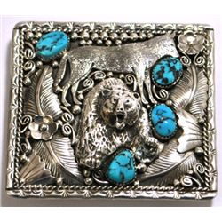 Navajo Turquoise Sterling Silver Wolf & Bear Buckle - Richard Bitsie