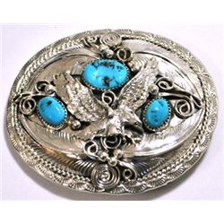 Navajo Turquoise Sterling Silver Flying Bird Buckle - Allen Chee