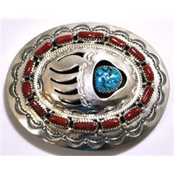 Navajo Coral & Turquoise Sterling Silver Bear Paw Buckle - Wilbert Muskett, Sr.