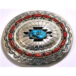 Navajo Coral & Turquoise Cluster Sterling Silver Buckle - Wilbert Muskett, Sr.