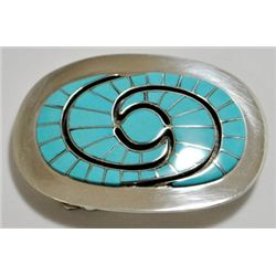 Zuni Turquoise Inlay Sterling Silver Buckle - Amy Quandelacy
