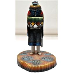 Hopi Angwusnasomtaqa Crow Mother Cottonwood Kachina - Sterling