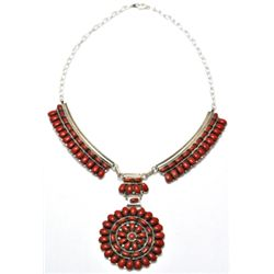 Navajo Coral Cluster Necklace - Juliana Williams