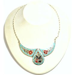 Zuni Multi-Stone Hummingbird Sterling Silver Necklace - Dennis & Nancy Edaakie