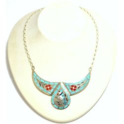 Zuni Multi-Stone Bluebird Sterling Silver Necklace - Dennis & Nancy Edaakie