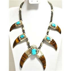 Navajo Tiger's Eye & Turquoise Sterling Silver Necklace - RB