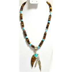 Navajo Tiger's Eye & Turquoise Sterling Silver Feather Necklace - RB
