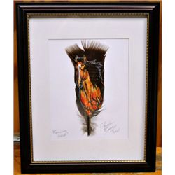 Navajo Horse Feather Painting - Running Free - Donovan Begay