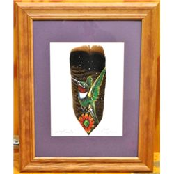 Navajo Hummingbird Feather Painting - Spring Beauty - Donovan Begay