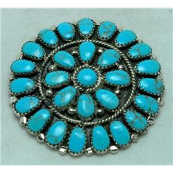 Navajo Turquoise Medium Circle Large Stone Pendant & Pin