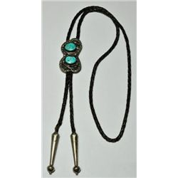 Old Pawn Turquoise Sterling Silver Bolo Tie