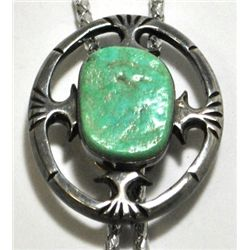 Old Pawn Green Turquoise Sterling Silver Bolo Tie w/ Vinyl Strap