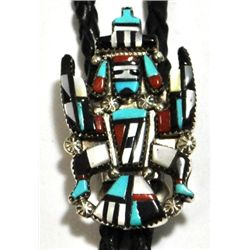 Old Pawn Multi-Stone Knifewing Kachina Sterling Silver Bolo Tie - Herbert Cellicion