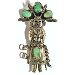 Old Pawn Green Turquoise Kachina Sterling Silver Bolo - R