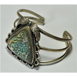 Old Pawn Abalone Sterling Silver Cuff Bracelet